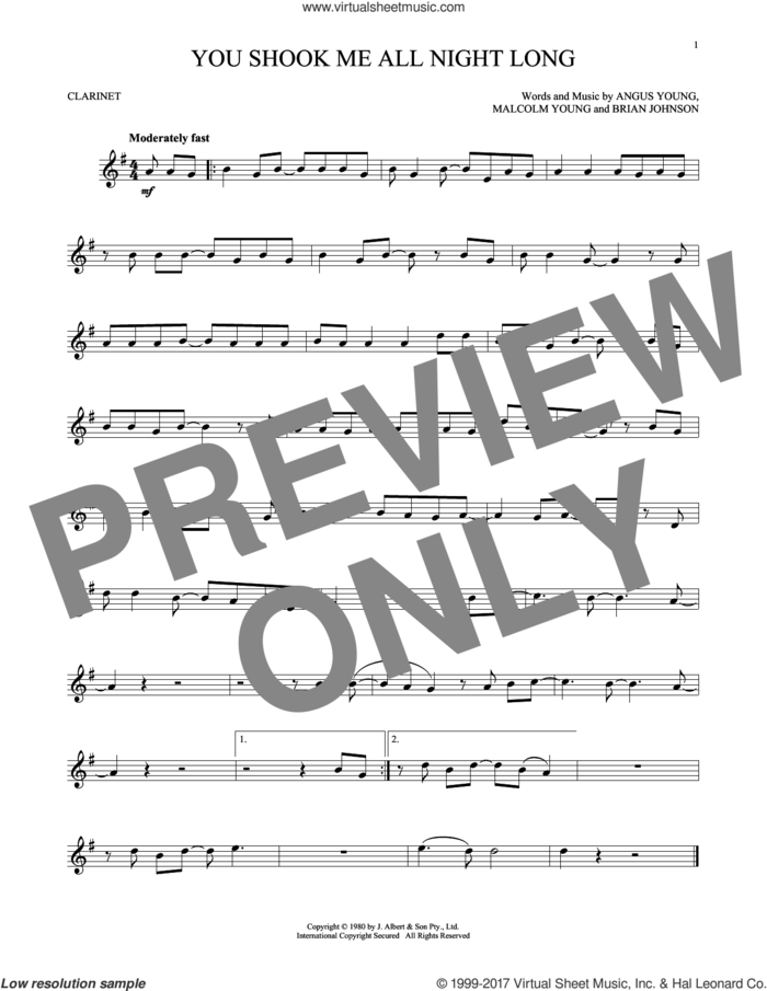 You Shook Me All Night Long sheet music for clarinet solo by AC/DC, Angus Young, Brian Johnson and Malcolm Young, intermediate skill level