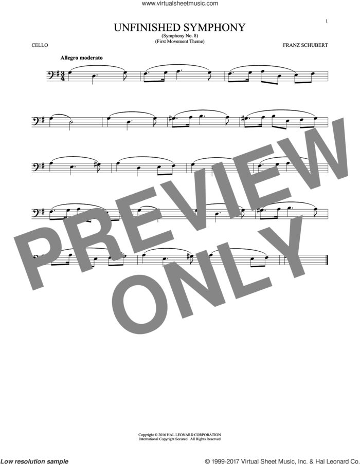 The Unfinished Symphony (Theme) sheet music for cello solo by Franz Schubert, classical score, intermediate skill level
