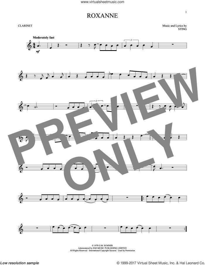 Roxanne sheet music for clarinet solo by The Police and Sting, intermediate skill level