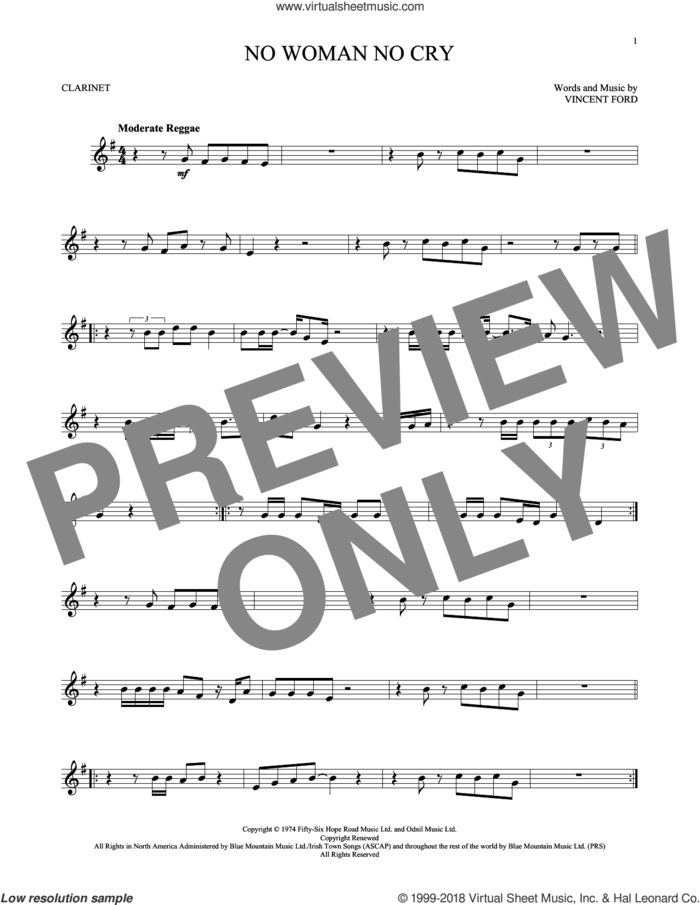 No Woman No Cry sheet music for clarinet solo by Bob Marley, intermediate skill level