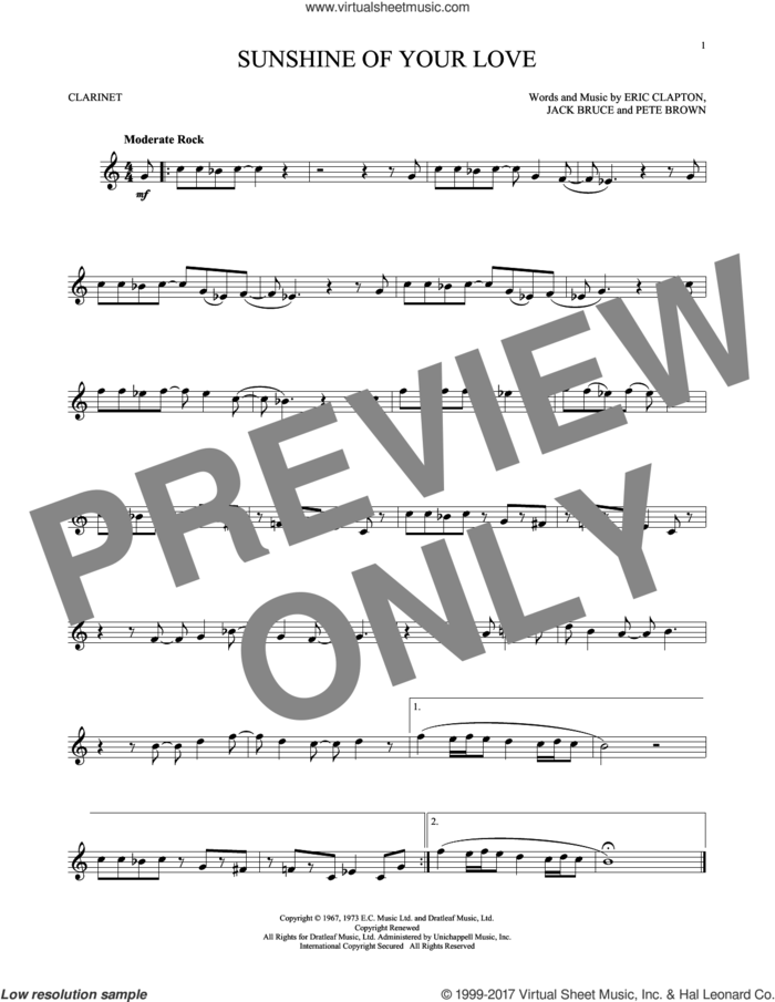 Sunshine Of Your Love sheet music for clarinet solo by Cream, Eric Clapton, Jack Bruce and Pete Brown, intermediate skill level