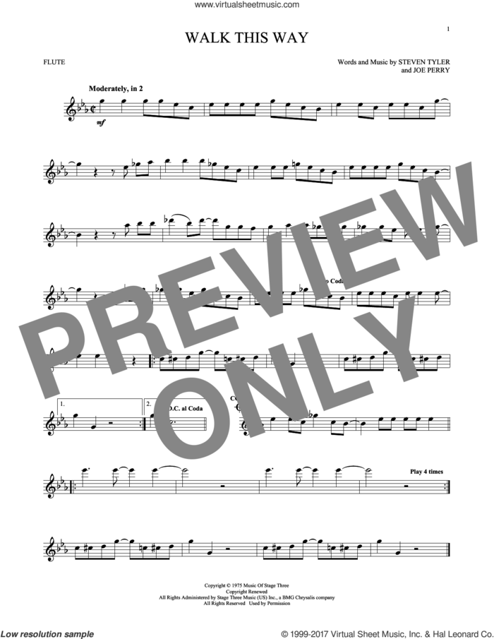 Walk This Way sheet music for flute solo by Aerosmith, Run D.M.C., Joe Perry and Steven Tyler, intermediate skill level