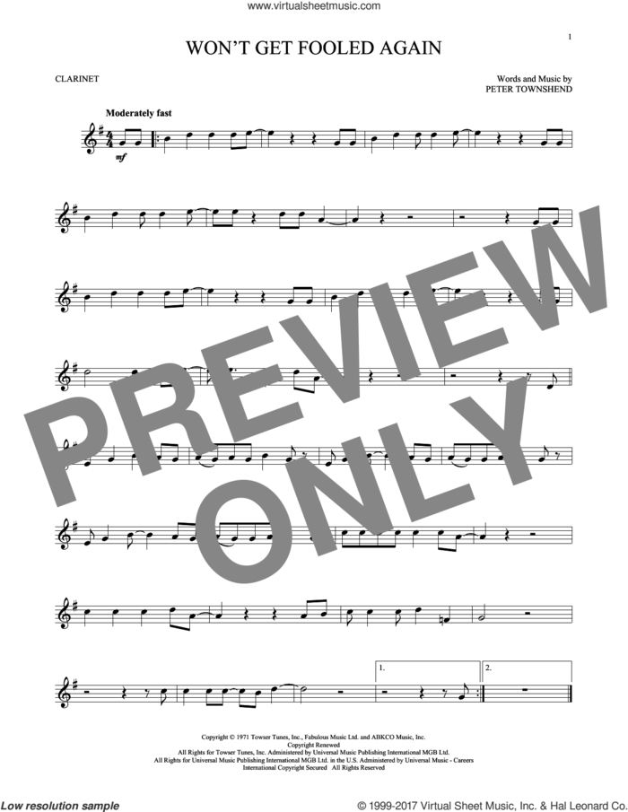 Won't Get Fooled Again sheet music for clarinet solo by The Who and Pete Townshend, intermediate skill level