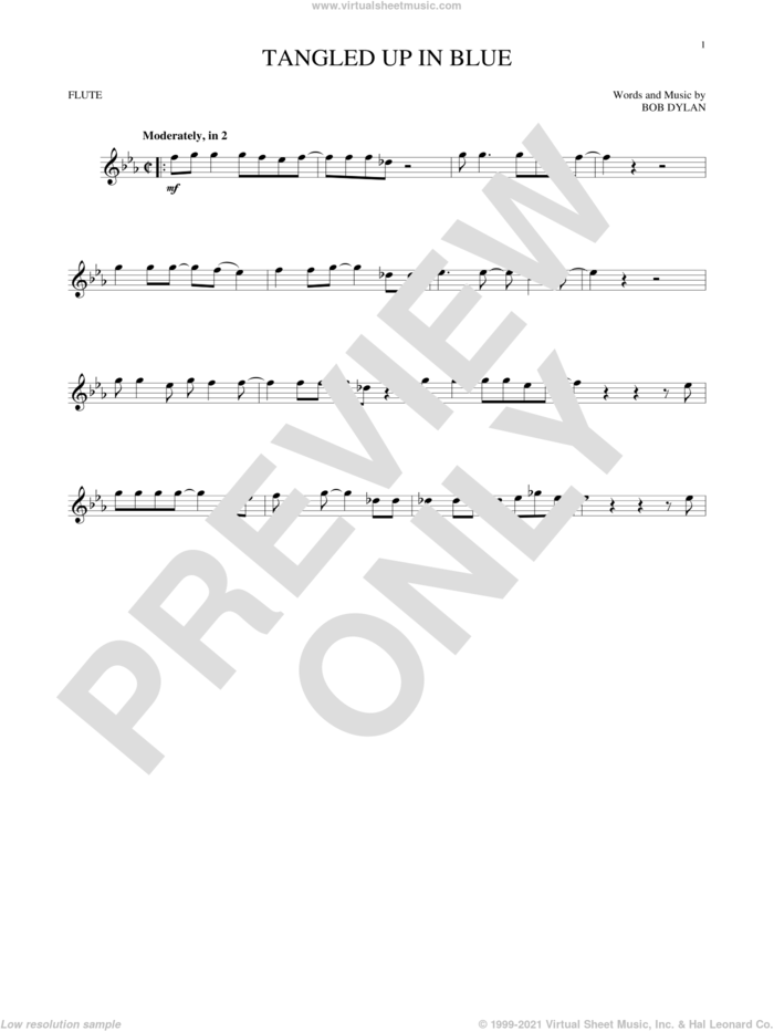 Tangled Up In Blue sheet music for flute solo by Bob Dylan, intermediate skill level