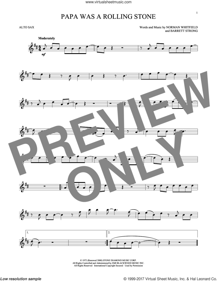 Papa Was A Rollin' Stone sheet music for alto saxophone solo by The Temptations, Barrett Strong and Norman Whitfield, intermediate skill level