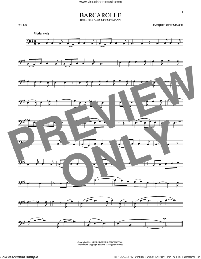 Barcarolle sheet music for cello solo by Jacques Offenbach, classical score, intermediate skill level
