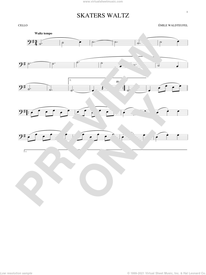 The Skaters (Waltz) sheet music for cello solo by Emile Waldteufel, classical score, intermediate skill level