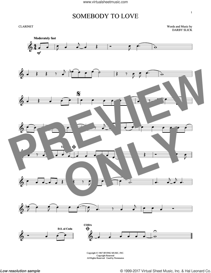 Somebody To Love sheet music for clarinet solo by Jefferson Airplane and Darby Slick, intermediate skill level