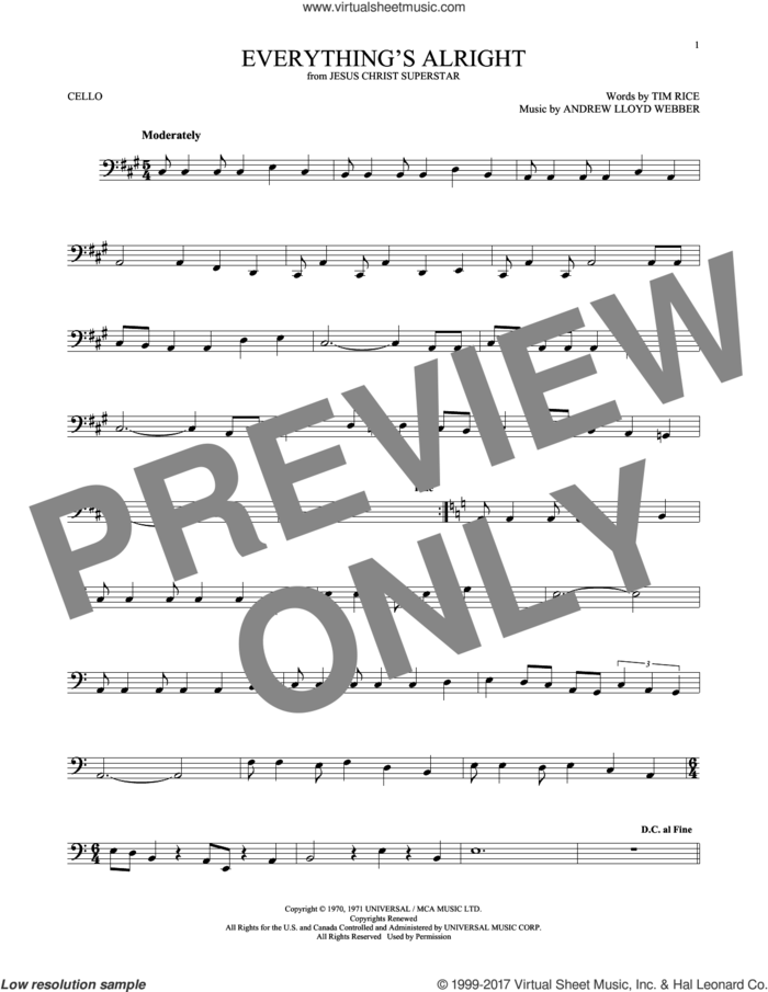 Everything's Alright (from Jesus Christ Superstar) sheet music for cello solo by Andrew Lloyd Webber, Yvonne Elliman and Tim Rice, intermediate skill level