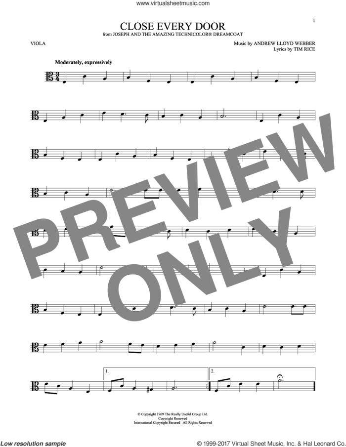 Close Every Door (from Joseph and the Amazing Technicolor Dreamcoat) sheet music for viola solo by Andrew Lloyd Webber and Tim Rice, intermediate skill level
