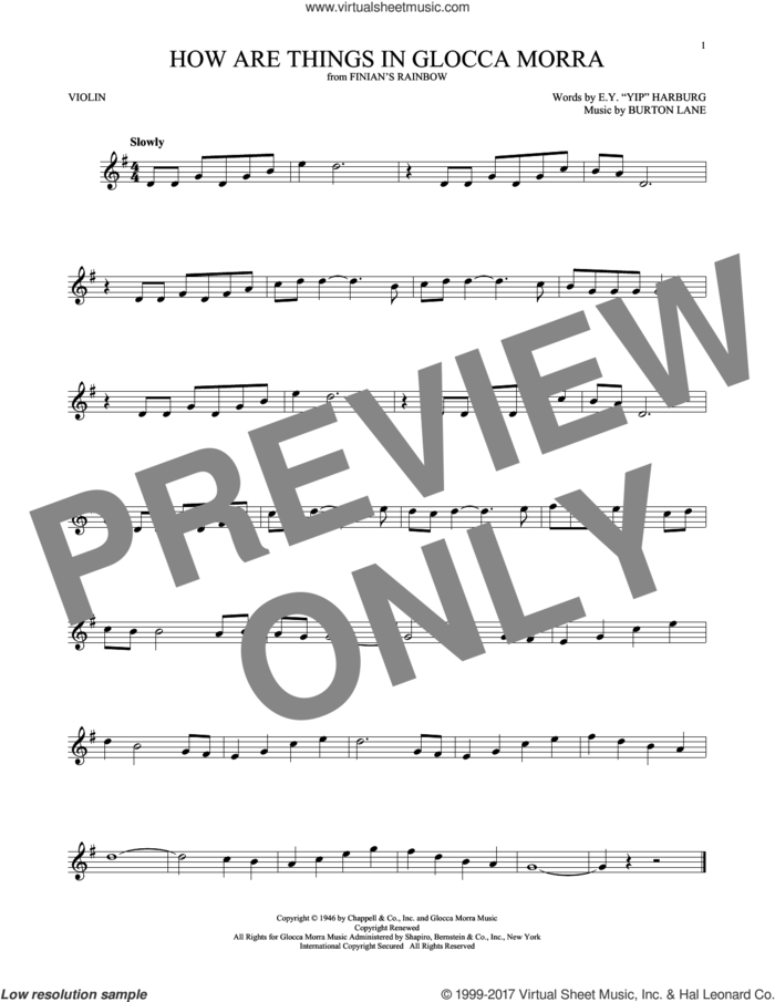 How Are Things In Glocca Morra sheet music for violin solo by E.Y. Harburg, Tommy Dorsey and Burton Lane, intermediate skill level