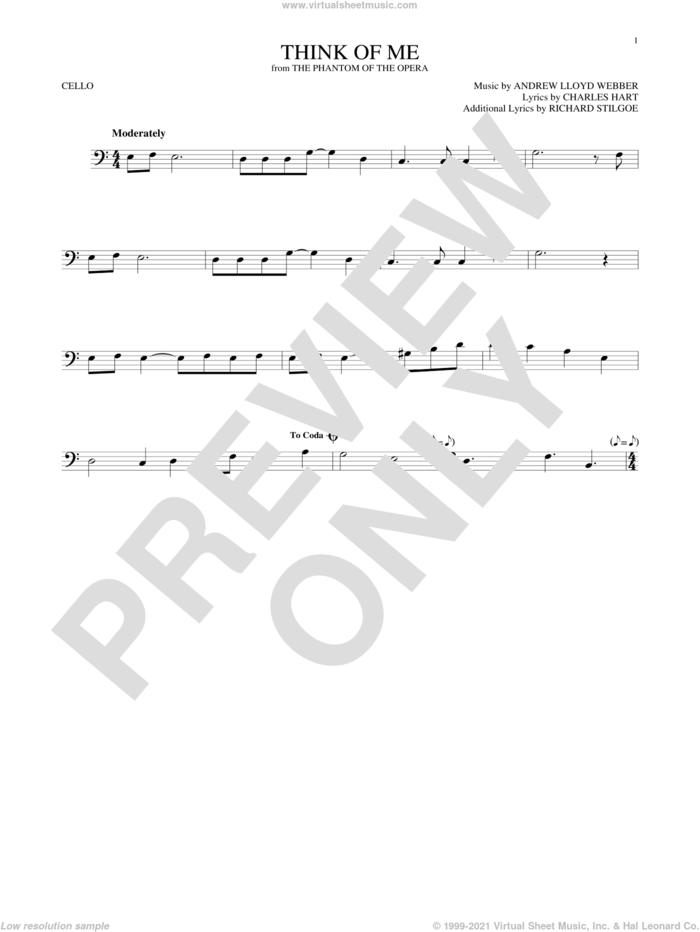 Think Of Me (from The Phantom Of The Opera) sheet music for cello solo by Andrew Lloyd Webber, Charles Hart and Richard Stilgoe, intermediate skill level