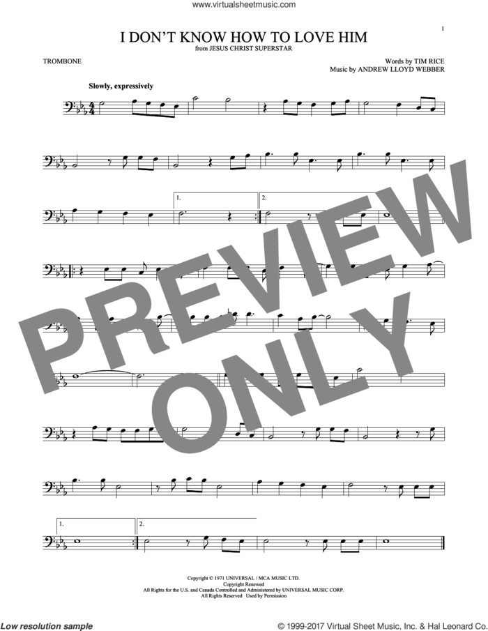 I Don't Know How To Love Him (from Jesus Christ Superstar) sheet music for trombone solo by Andrew Lloyd Webber, Helen Reddy and Tim Rice, intermediate skill level