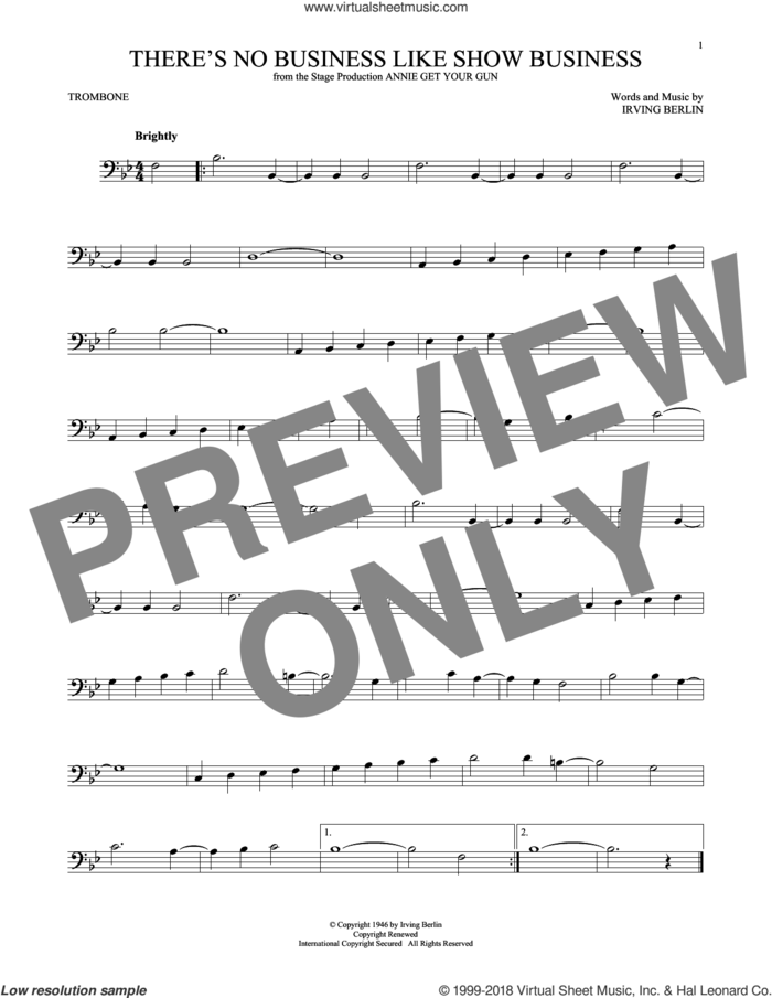 There's No Business Like Show Business sheet music for trombone solo by Irving Berlin, intermediate skill level