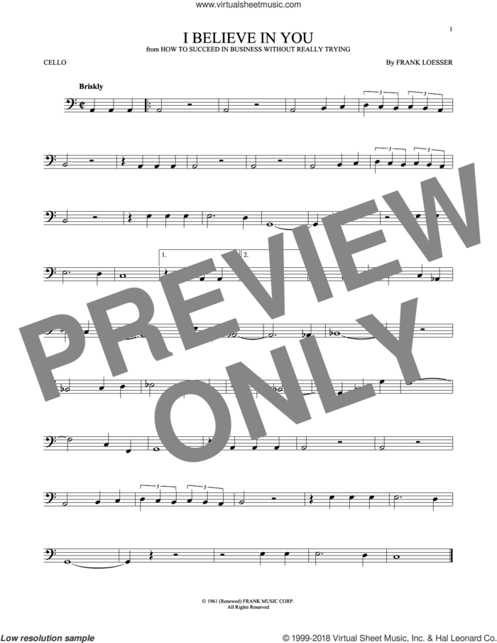 I Believe In You sheet music for cello solo by Frank Loesser, intermediate skill level