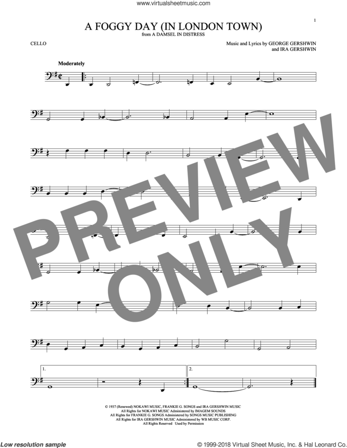 A Foggy Day (In London Town) sheet music for cello solo by George Gershwin and Ira Gershwin, intermediate skill level