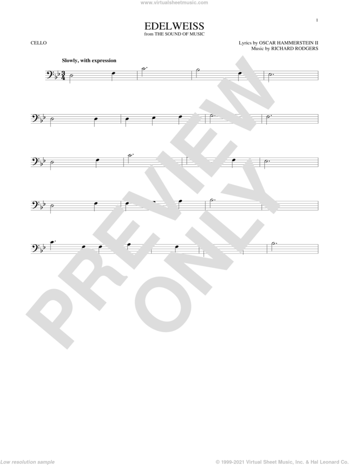 Edelweiss sheet music for cello solo by Rodgers & Hammerstein, Oscar II Hammerstein and Richard Rodgers, intermediate skill level