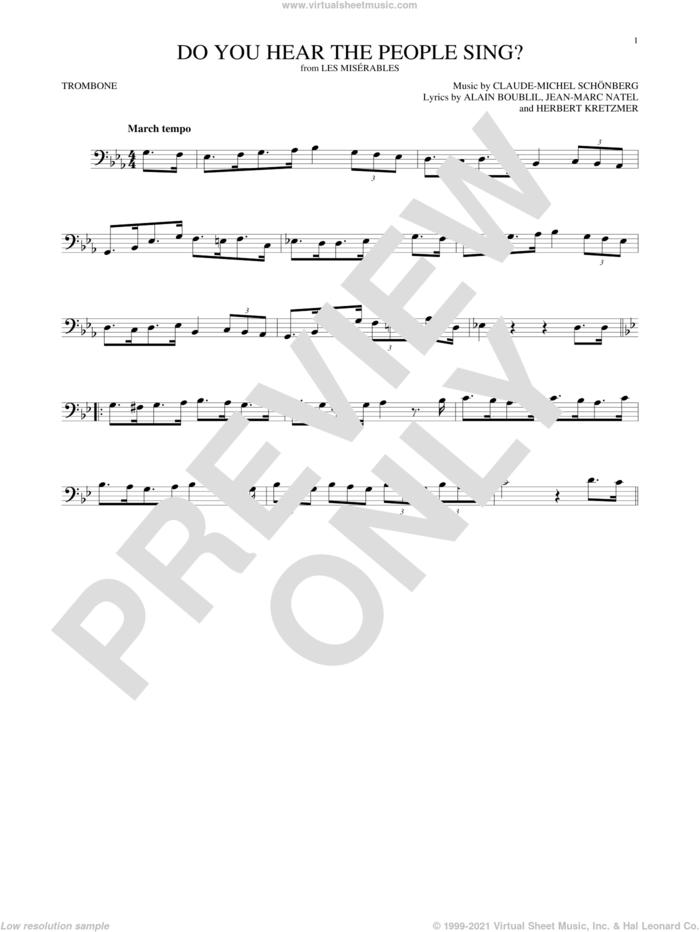 Do You Hear The People Sing? sheet music for trombone solo by Alain Boublil, Claude-Michel Schonberg, Claude-Michel Schonberg, Herbert Kretzmer and Jean-Marc Natel, intermediate skill level