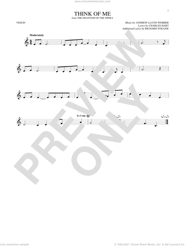 Think Of Me (from The Phantom Of The Opera) sheet music for violin solo by Andrew Lloyd Webber, Charles Hart and Richard Stilgoe, intermediate skill level