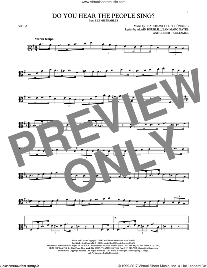 Do You Hear The People Sing? sheet music for viola solo by Alain Boublil, Claude-Michel Schonberg, Claude-Michel Schonberg, Herbert Kretzmer and Jean-Marc Natel, intermediate skill level