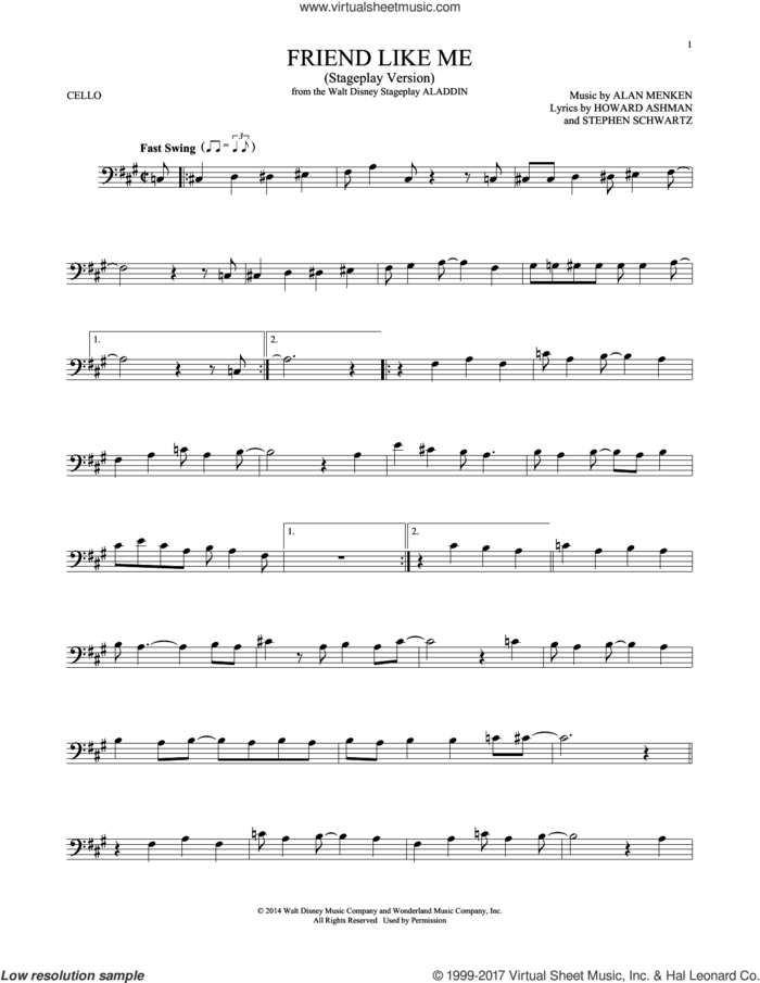 Friend Like Me (from Aladdin) (Stageplay Version) sheet music for cello solo by Alan Menken, Howard Ashman and Stephen Schwartz, intermediate skill level