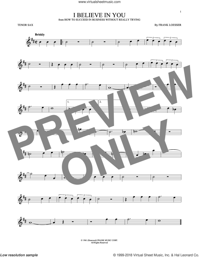 I Believe In You sheet music for tenor saxophone solo by Frank Loesser, intermediate skill level