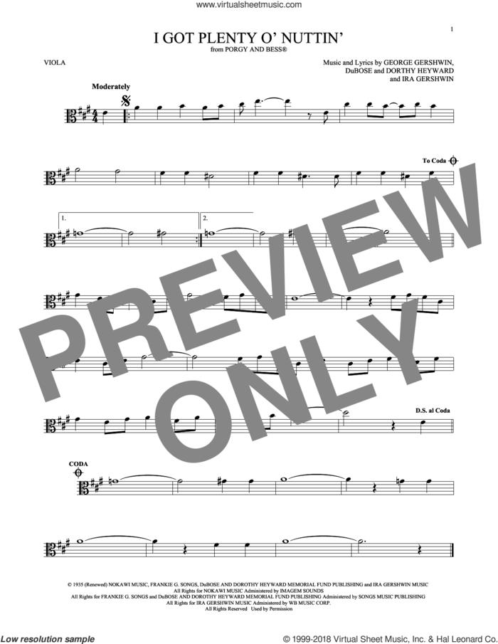 I Got Plenty O' Nuttin' sheet music for viola solo by George Gershwin, Dorothy Heyward, DuBose Heyward and Ira Gershwin, intermediate skill level