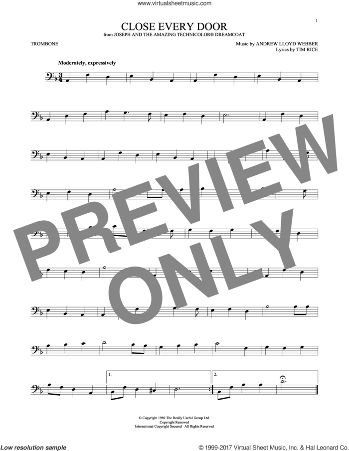 Close Every Door (from Joseph and the Amazing Technicolor Dreamcoat) sheet music for trombone solo by Andrew Lloyd Webber and Tim Rice, intermediate skill level