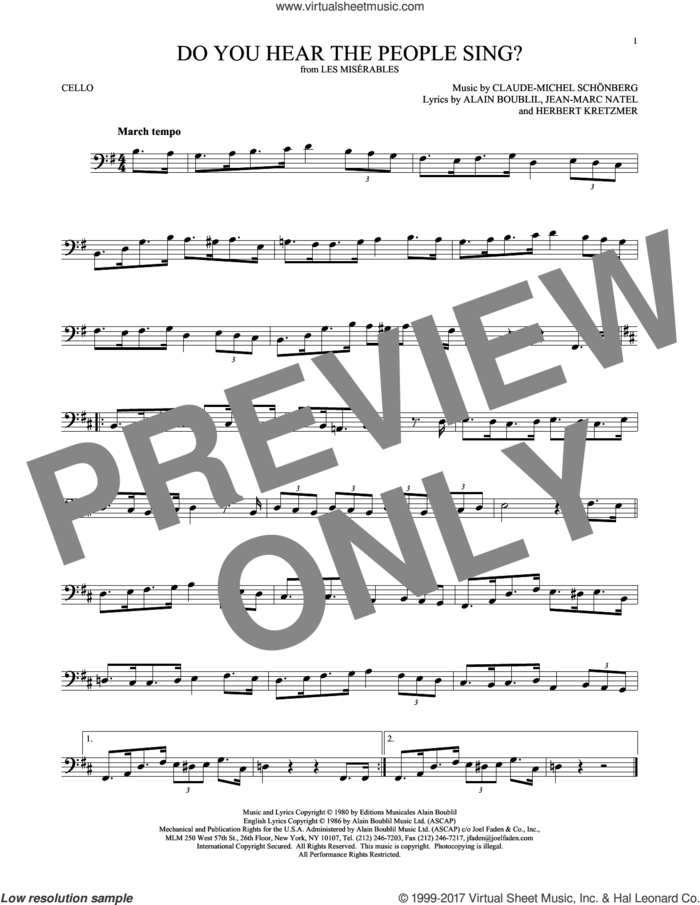 Do You Hear The People Sing? sheet music for cello solo by Alain Boublil, Claude-Michel Schonberg, Claude-Michel Schonberg, Herbert Kretzmer and Jean-Marc Natel, intermediate skill level