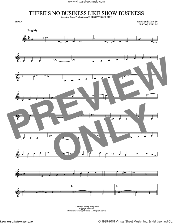 There's No Business Like Show Business sheet music for horn solo by Irving Berlin, intermediate skill level