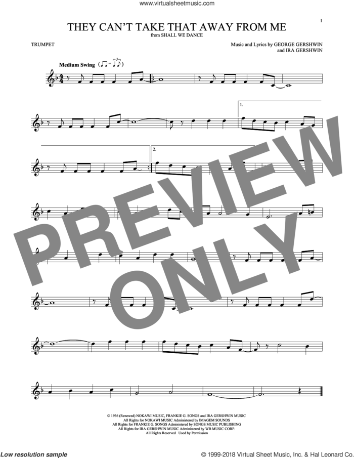 They Can't Take That Away From Me sheet music for trumpet solo by Frank Sinatra, George Gershwin and Ira Gershwin, intermediate skill level