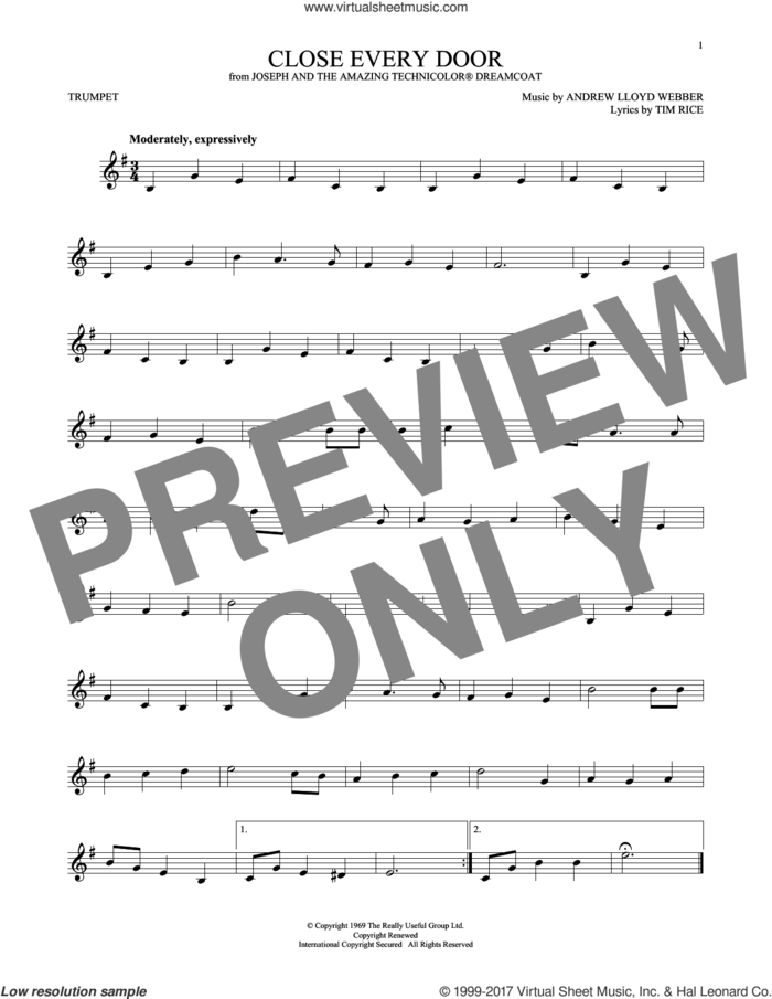 Close Every Door sheet music for trumpet solo by Andrew Lloyd Webber and Tim Rice, intermediate skill level