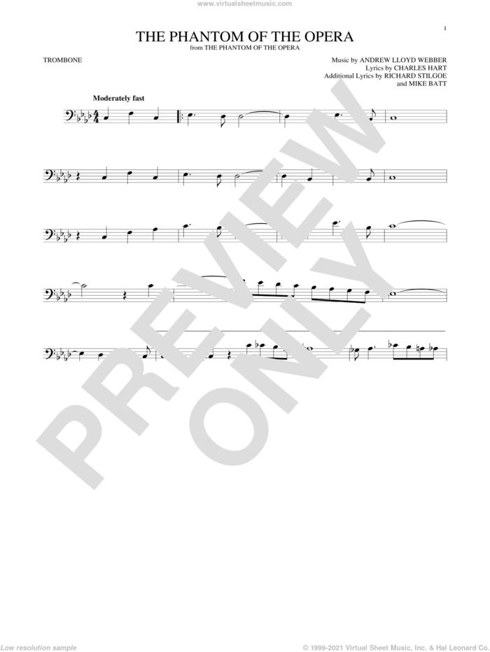 The Phantom Of The Opera sheet music for trombone solo by Andrew Lloyd Webber, Charles Hart, Mike Batt and Richard Stilgoe, intermediate skill level