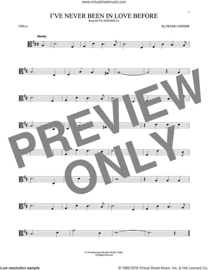 I've Never Been In Love Before sheet music for viola solo by Frank Loesser, Billy Eckstine, Chet Baker and Stan Kenton, intermediate skill level