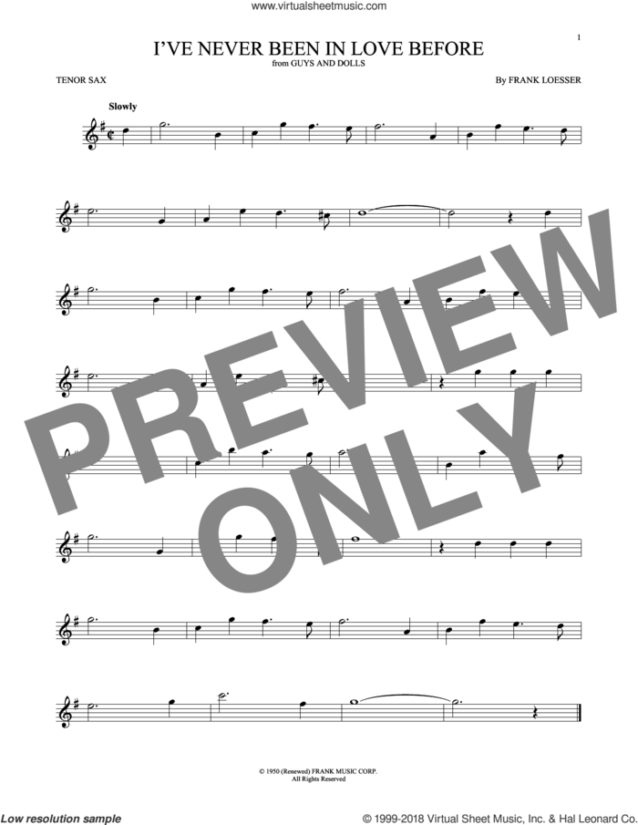 I've Never Been In Love Before sheet music for tenor saxophone solo by Frank Loesser, Billy Eckstine, Chet Baker and Stan Kenton, intermediate skill level
