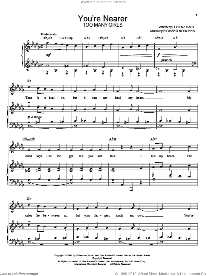 You're Nearer sheet music for voice, piano or guitar by Shirley Horn, Rodgers & Hart, Steve Lawrence, Lorenz Hart and Richard Rodgers, intermediate skill level