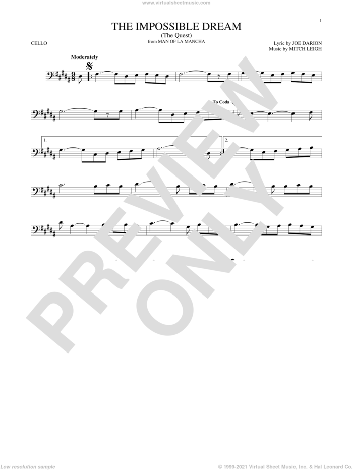 The Impossible Dream (The Quest) sheet music for cello solo by Joe Darion and Mitch Leigh, intermediate skill level