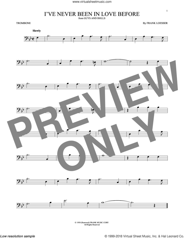 I've Never Been In Love Before sheet music for trombone solo by Frank Loesser, Billy Eckstine, Chet Baker and Stan Kenton, intermediate skill level