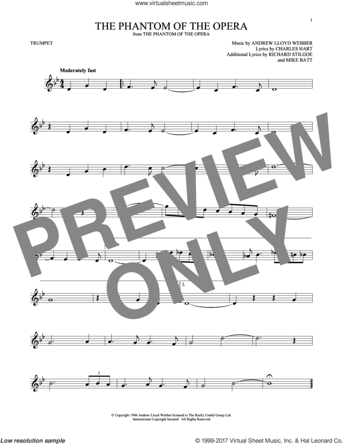 The Phantom Of The Opera sheet music for trumpet solo by Andrew Lloyd Webber, Charles Hart, Mike Batt and Richard Stilgoe, intermediate skill level