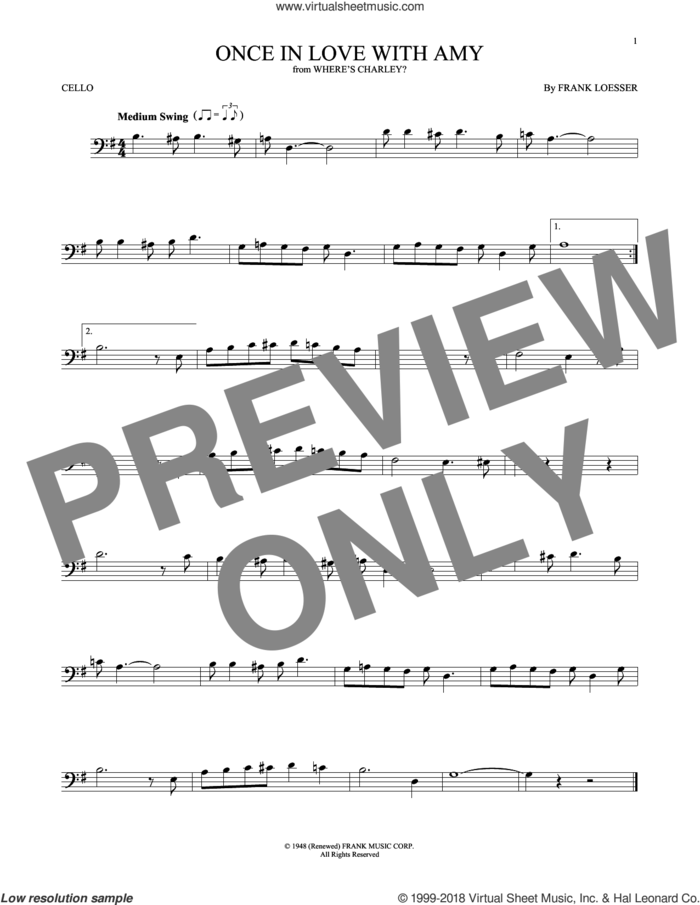 Once In Love With Amy sheet music for cello solo by Frank Loesser, intermediate skill level