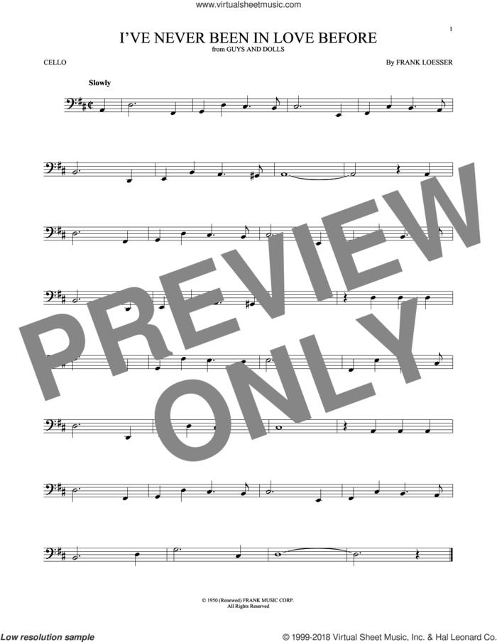 I've Never Been In Love Before sheet music for cello solo by Frank Loesser, Billy Eckstine, Chet Baker and Stan Kenton, intermediate skill level