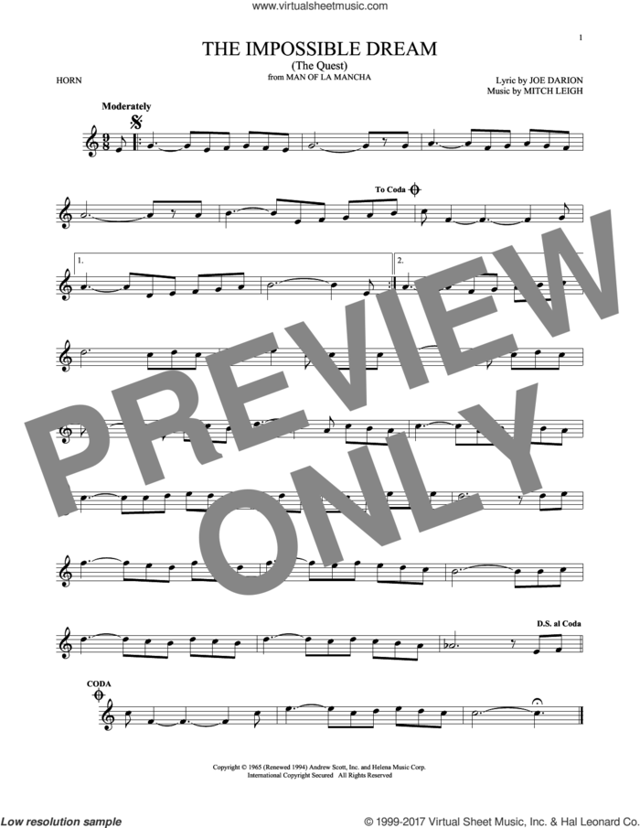 The Impossible Dream (The Quest) sheet music for horn solo by Joe Darion and Mitch Leigh, intermediate skill level