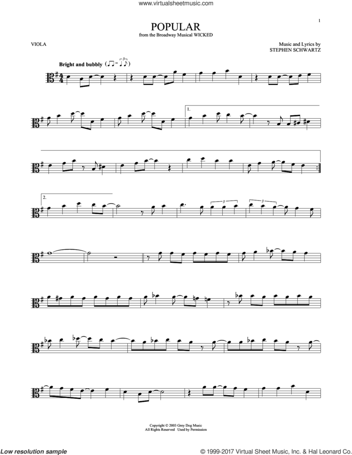 Popular (from Wicked) sheet music for viola solo by Stephen Schwartz, intermediate skill level