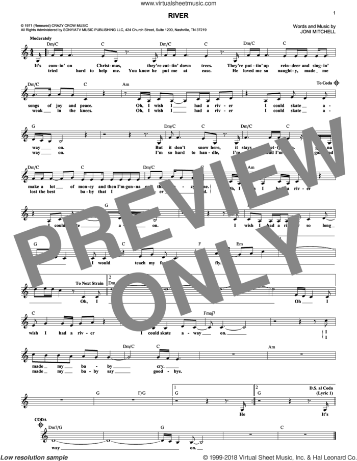 River sheet music for voice and other instruments (fake book) by Joni Mitchell and Linda Ronstadt, intermediate skill level