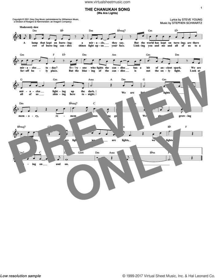 The Chanukah Song (We Are Lights) sheet music for voice and other instruments (fake book) by Stephen Schwartz and Steve Young, intermediate skill level