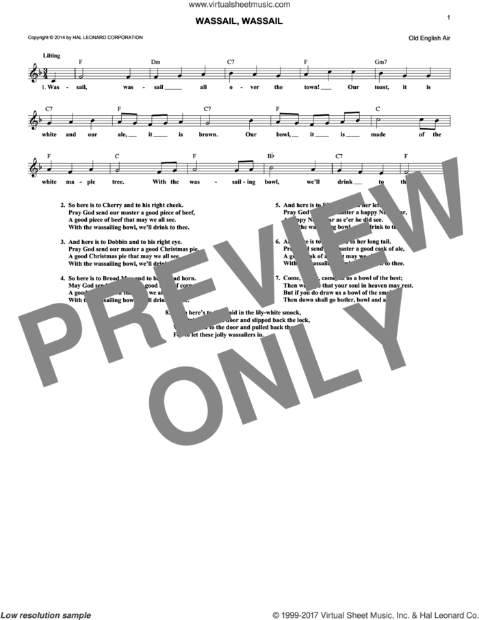 Wassail, Wassail sheet music for voice and other instruments (fake book) by Old English Air, intermediate skill level
