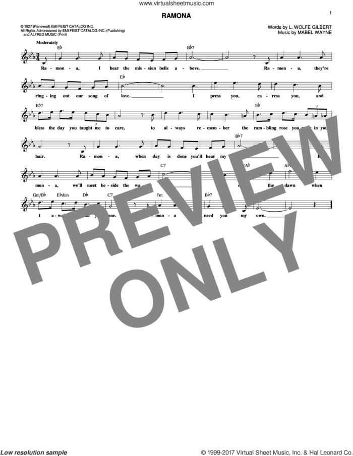 Ramona sheet music for voice and other instruments (fake book) by Mabel Wayne and L. Wolfe Gilbert, intermediate skill level