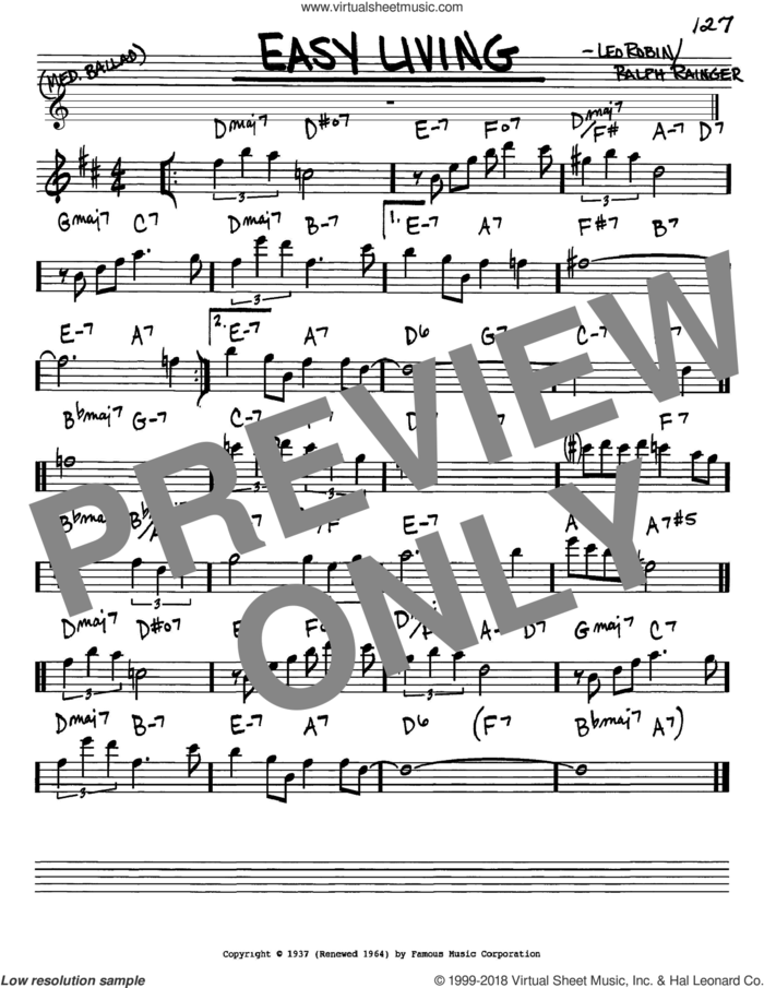Easy Living sheet music for voice and other instruments (in Eb) by Billie Holiday, Leo Robin and Ralph Rainger, intermediate skill level