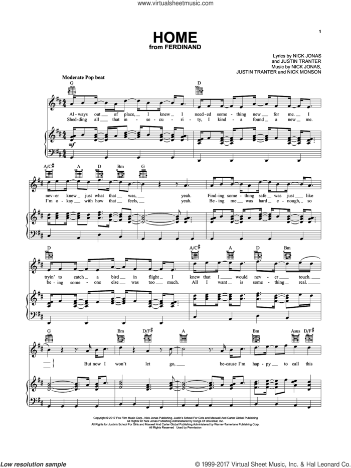 Home sheet music for voice, piano or guitar by Nick Jonas, Justin Tranter and Nick Monson, intermediate skill level