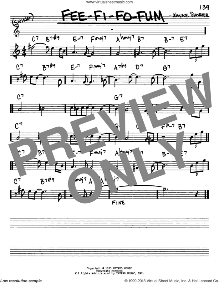Fee-Fi-Fo-Fum sheet music for voice and other instruments (in Eb) by Wayne Shorter, intermediate skill level